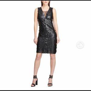 NWT DKNY Matte Black Sequins Mesh Midi Dress